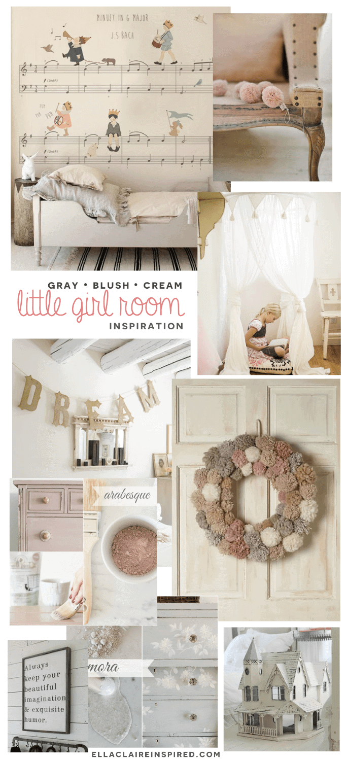 Gray, Blush, Cream little girl room mood board with sources. I love this color combination!