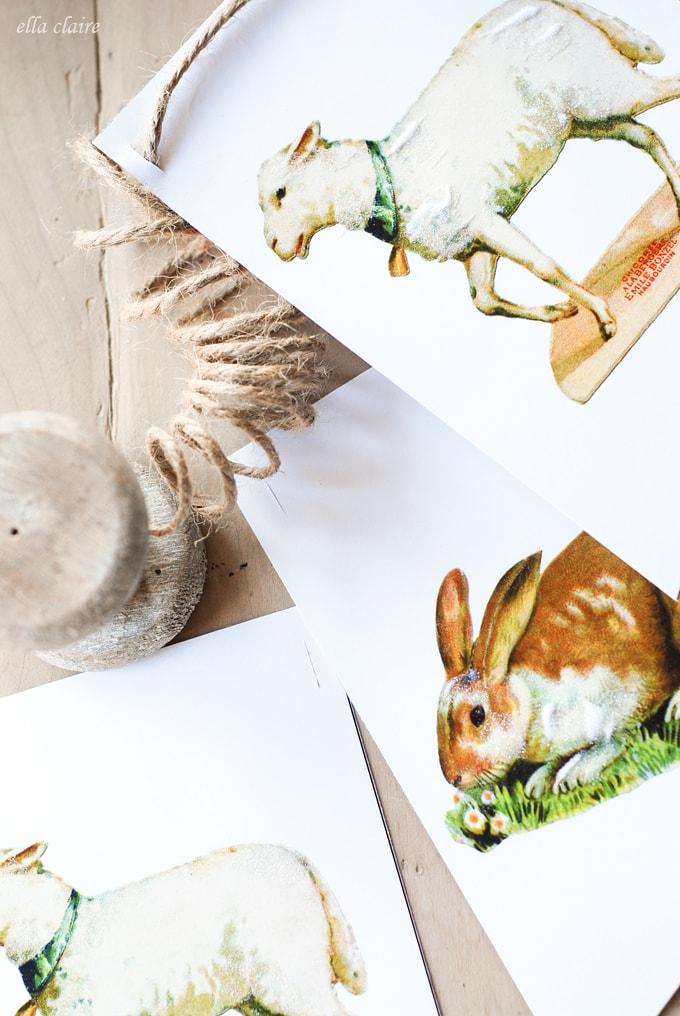 Free Printable Easter Bunny and Lamb Banner