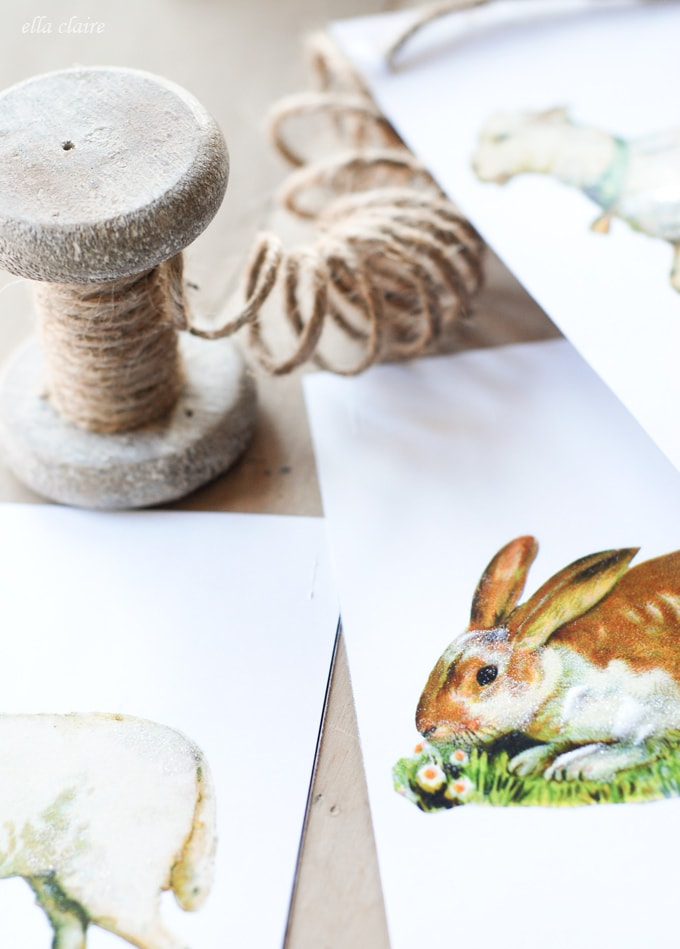 Free Printable Easter Bunny and Lamb Banner
