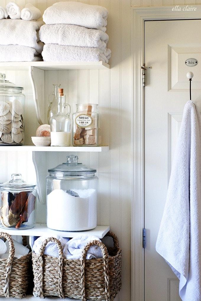 Diy Bathroom Linen Shelves