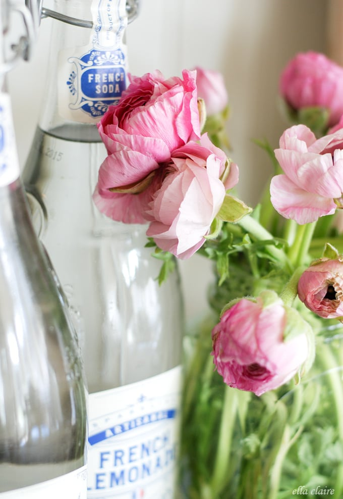 beautiful Spring Ranunculus, French Soda bottles, and a free printable