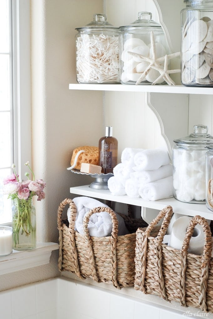 DIY Bathroom Linen Shelves - Ella Claire