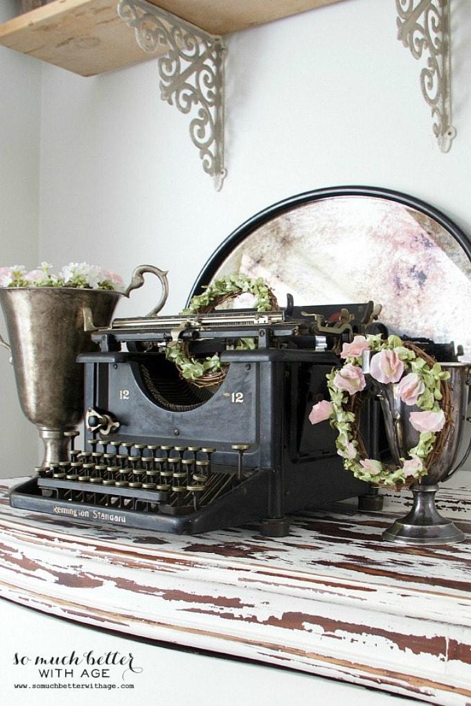 Old typewriter & floral crowns