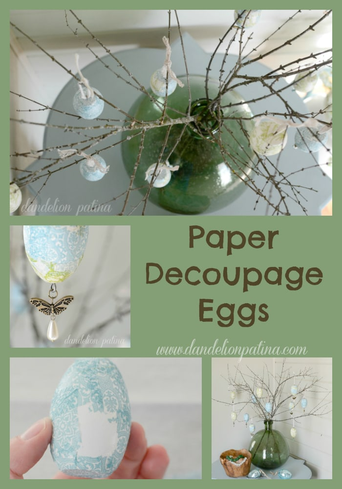 paper decoupage eggs dandelion patina