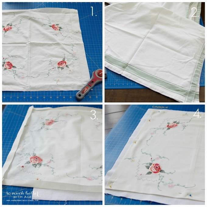 Grandma's tablecloth to pillow cover | somuchbetterwithage.com
