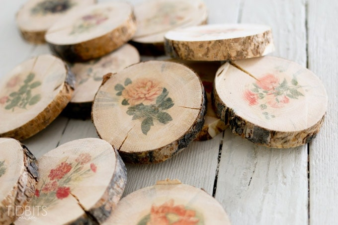 Botanical wood slices