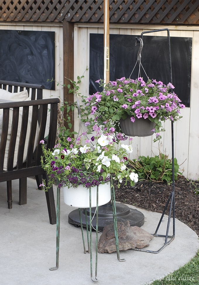 DIY Patio Makeover Flowers Hanging Baskets