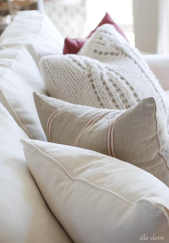 pretty pillows | Ella Claire Summer Home Tour