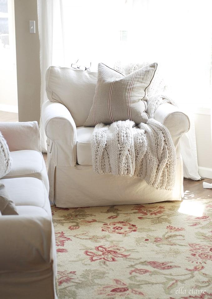 cream sofas | Ella Claire Summer Home Tour