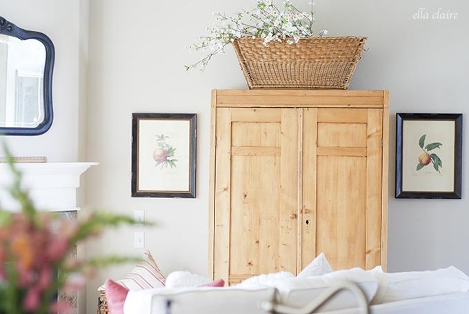 antique cabinet | Ella Claire Summer Home Tour
