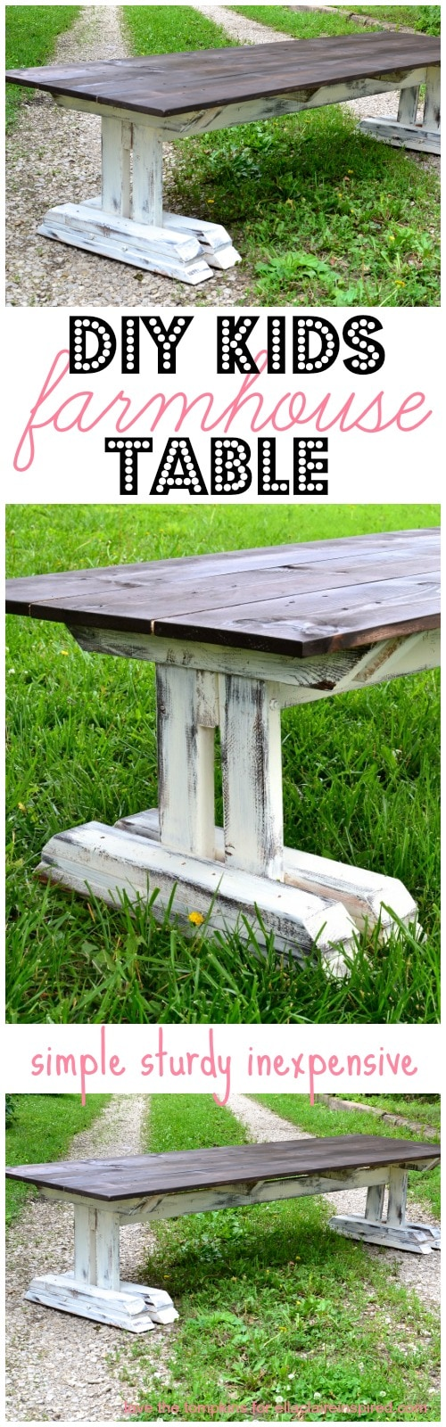 Easy to follow plans to build this adorable and super sturdy children's farmhouse table!