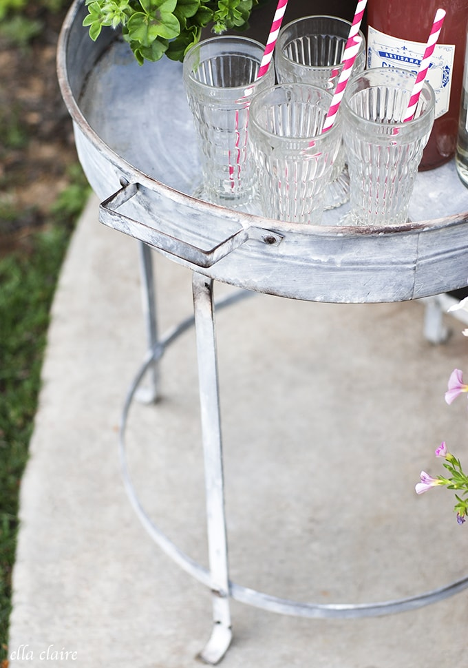 Gorgeous vintage inspired galvanized tray stands