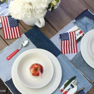 Easy sew denim placemats and a patriotic table setting