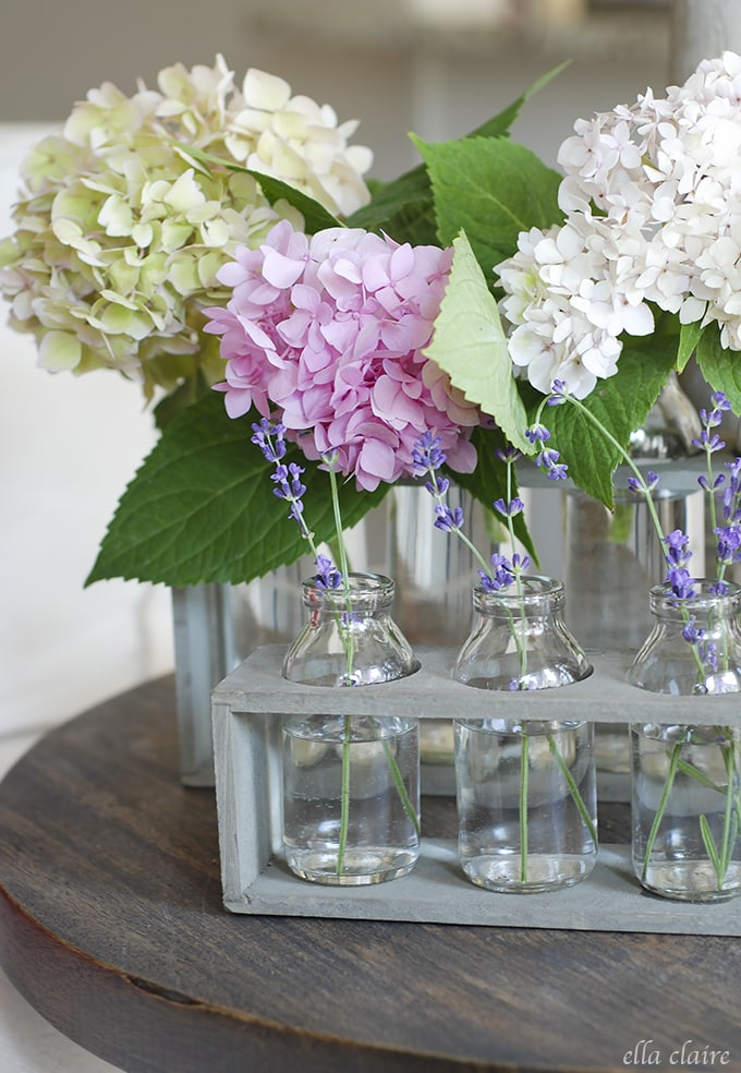 bottles with hydrangeas and lavender