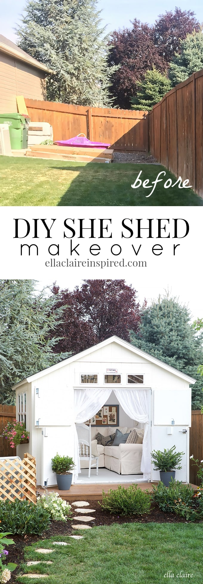 Amazing makeover! DIY She Shed Exterior