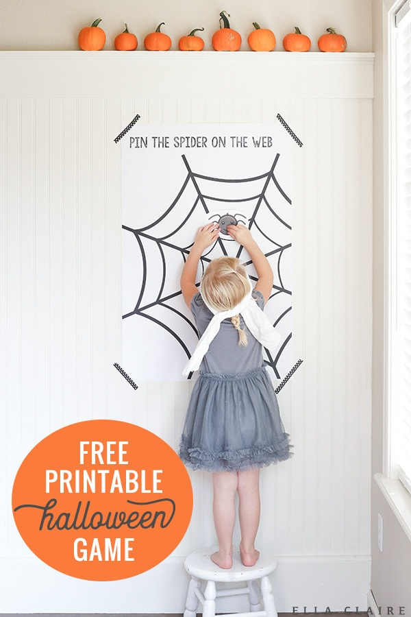 Free printable Pin the spider on the web- a fun Halloween game for kids, perfect for any party! #DIY #printable #awesome #partyideas #handmade #design #halloweenparty