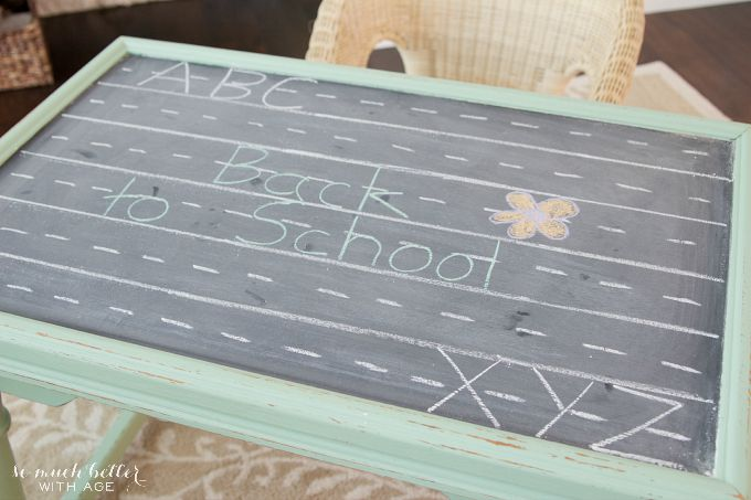 Play table with chalkboard writing on top.