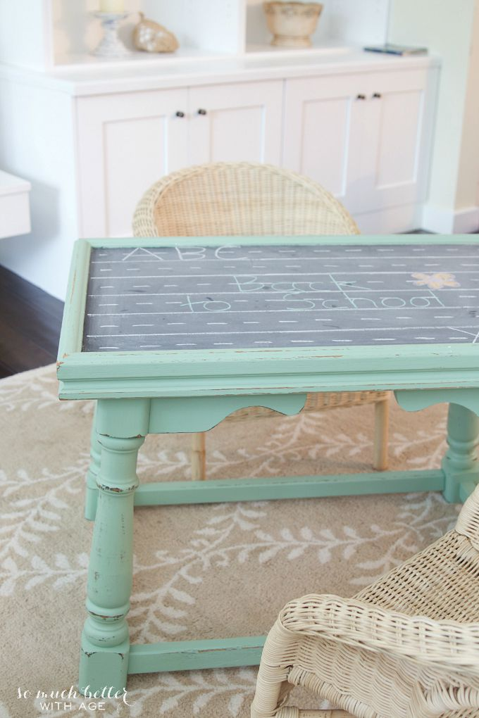 Ugly coffee table to kids' play table / transformed table on rug - So Much Better With Age