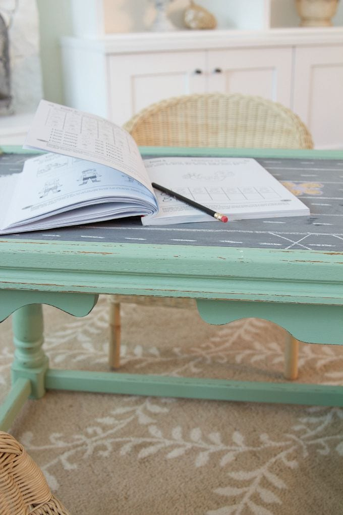Ugly coffee table to kids' play table / homework on table - So Much Better With Age