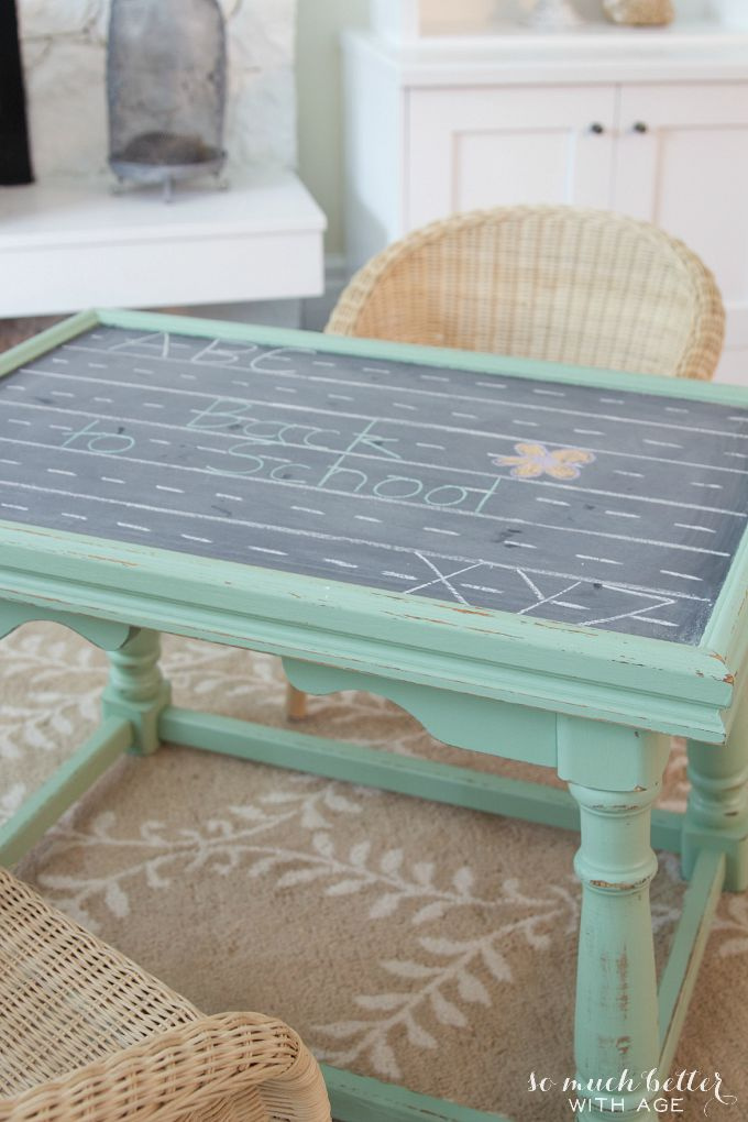 Light green kid's play table with wicker chair.