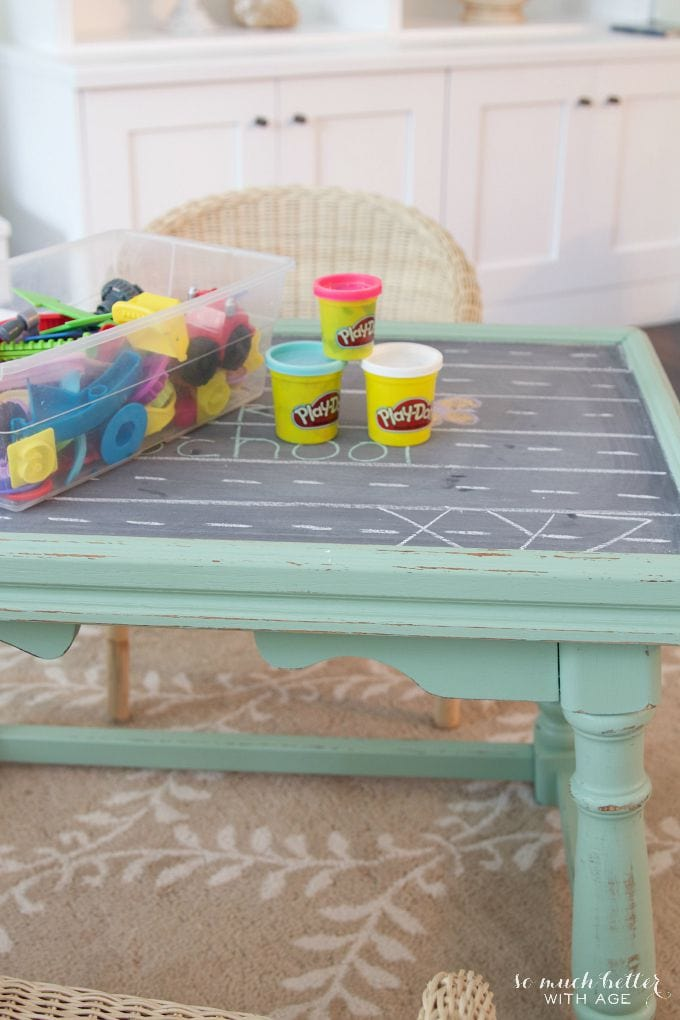 Playdough and lego pieces on top of play table.