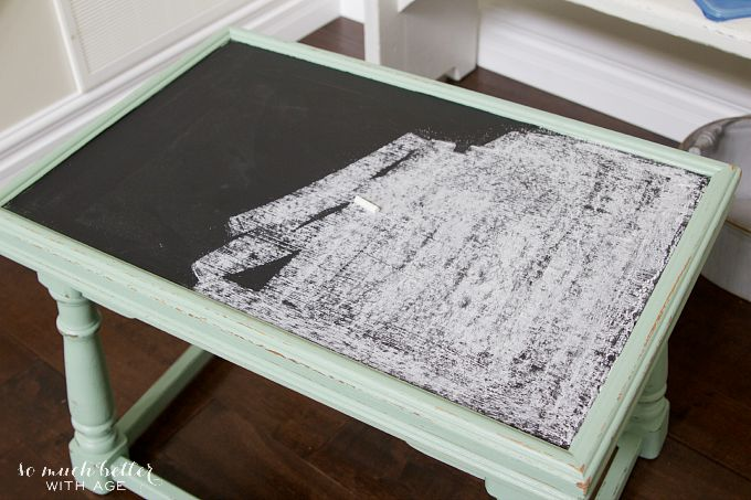 Chalkboard paint on top of table with chalk.