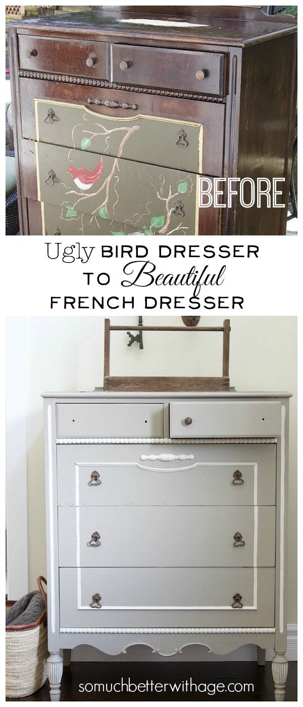 Ugly Bird Dresser to Beautiful French Dresser - So Much Better With Age