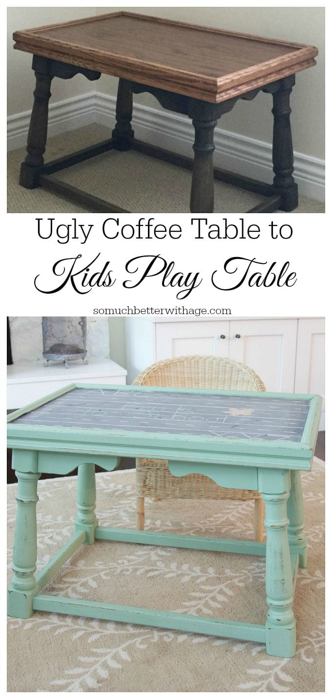 Ugly coffee table to kids' play table / before image of table - So Much Better With Age