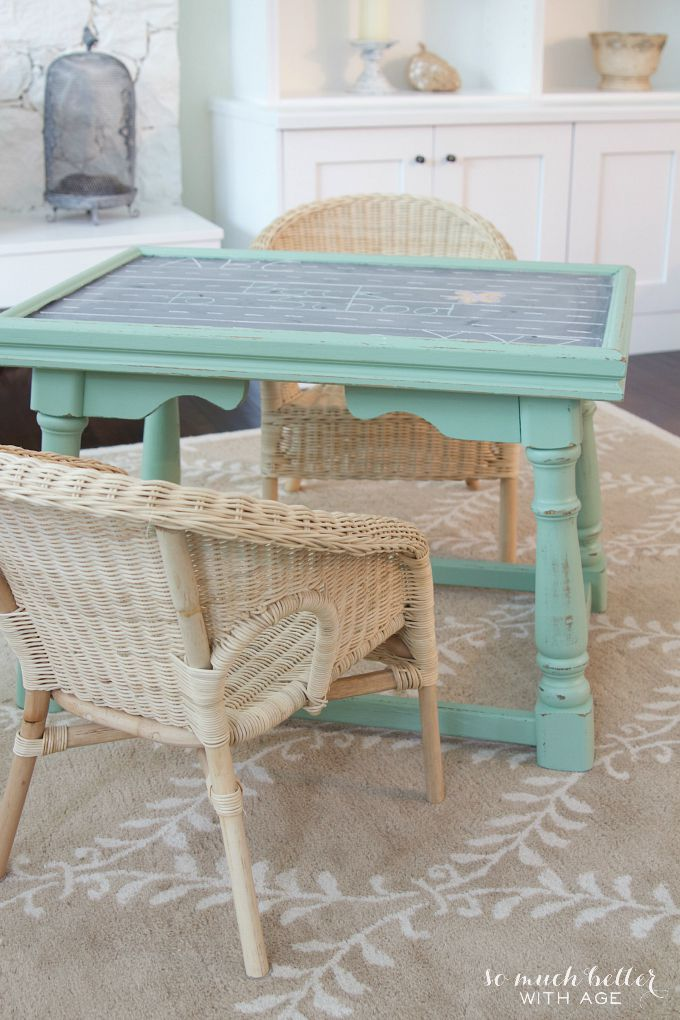 Ugly coffee table to kids' play table / table with wicker chairs - So Much Better With Age