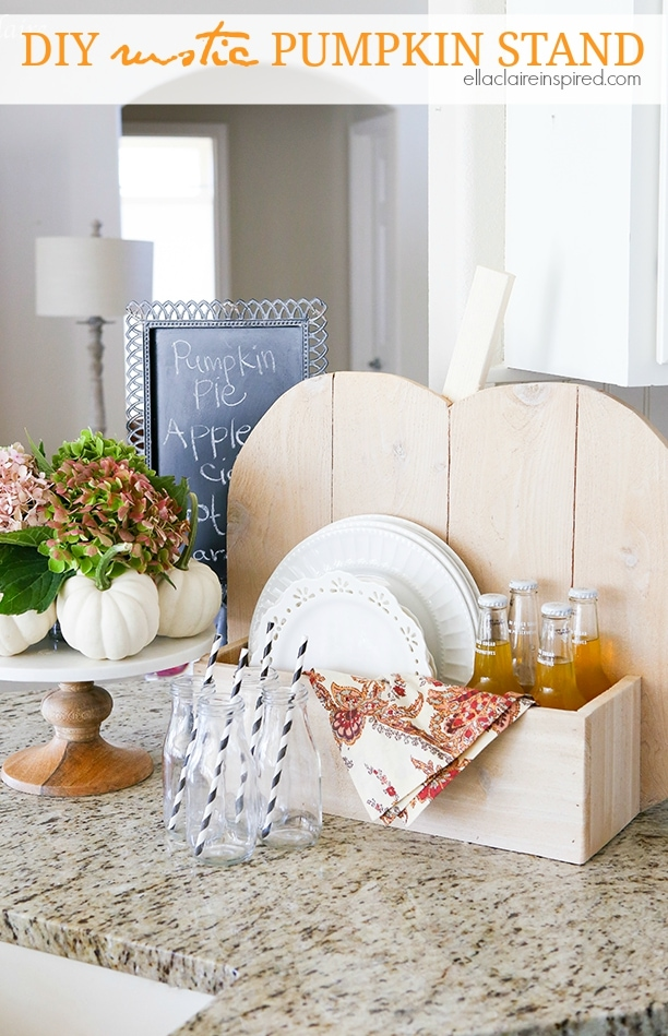 Simple DIY rustic Pumpkin Stand~ the perfect addition to holiday decor and entertaining #DIHWorkshop #sponsored