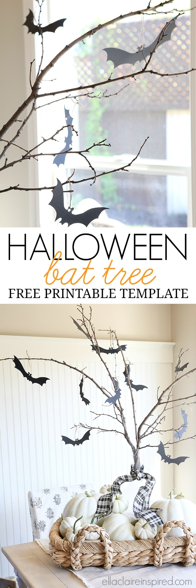 Halloween Bat Tree Free Printable Template