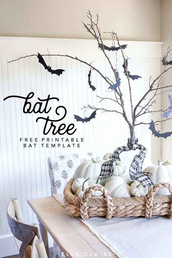 Free Printable bat template and bat tree tutorial- an easy, fun and inexpensive decoration to add to your home this Halloween! #topper #Halloweendecoration #decor #Fall #autumn #freeprintable #Halloween