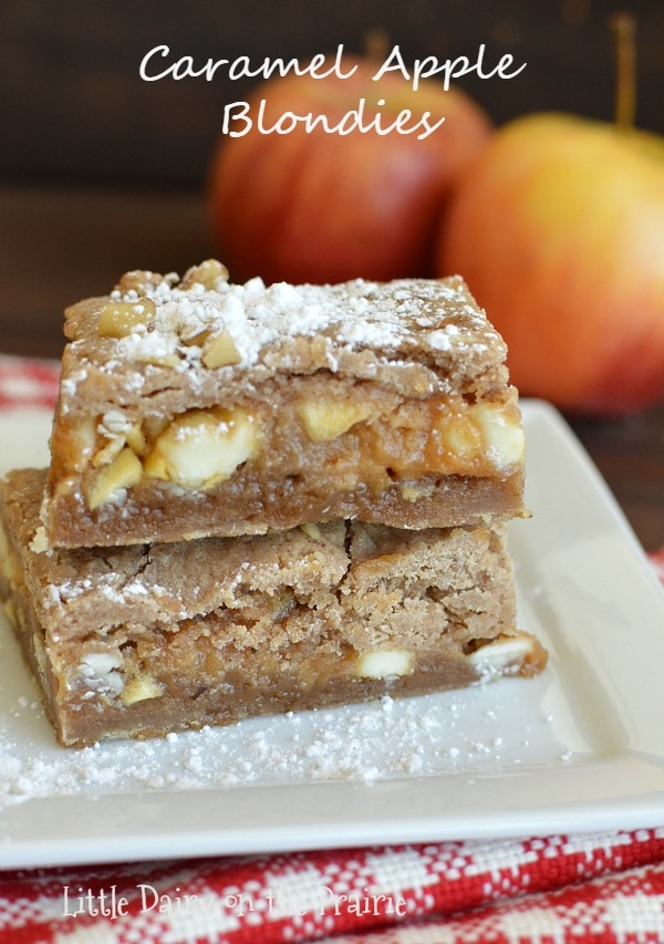 A caramel apple version of those famous knock you naked brownies that are so irresistible! This is one of my favorite versions yet!  Little Dairy on the Prairie