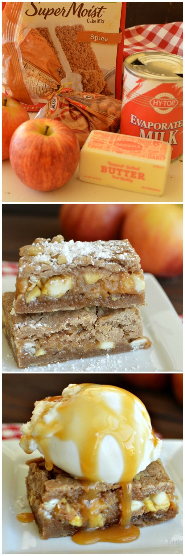 Caramel Apple Blondies! Warm and gooey blondies are delicious served alone, or extra decadent topped with ice cream and drizzled with extra caramel sauce!  Little Dairy on the Prairie