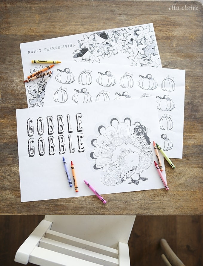 Thanksgiving Coloring Placemats | Free Printable - Ella Claire