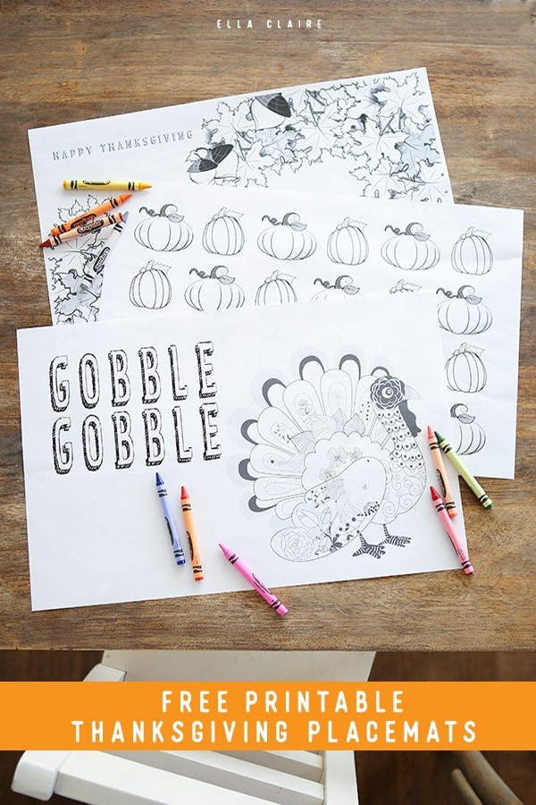 Free printable coloring placemats to keep the kids entertained during Thanksgiving dinner- great for the entire fall season #craft #homemade #kindergarten thanksgiving #kidstable