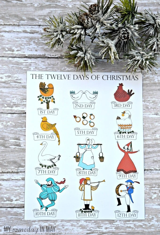 picture regarding 12 Days of Christmas Printable Tags referred to as 12 Times of Xmas Totally free Printable - Ella Claire