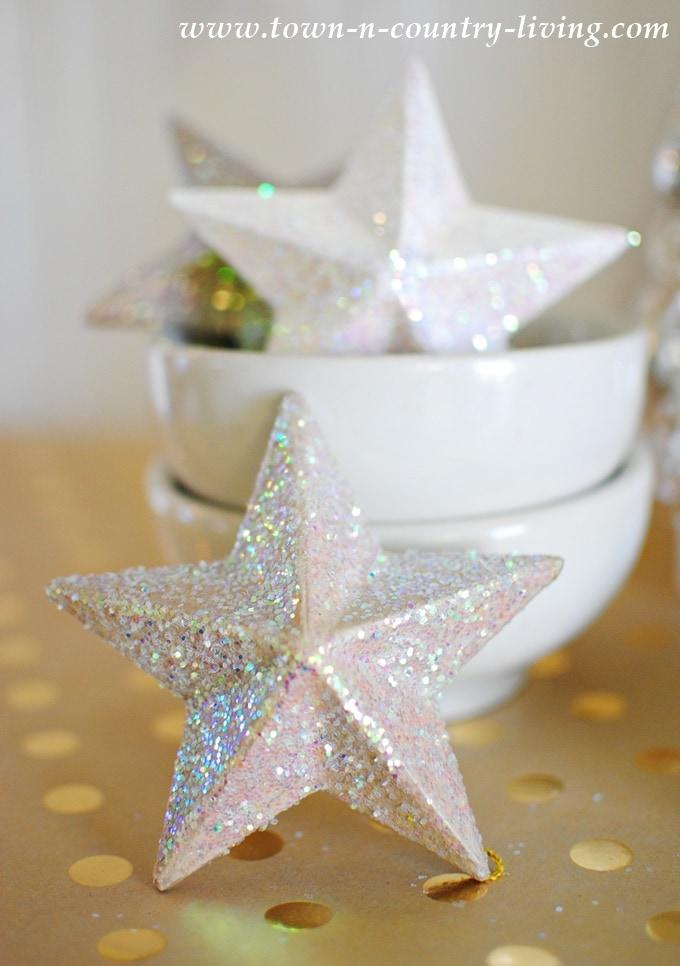 DIY Glitter Paper Mache Stars