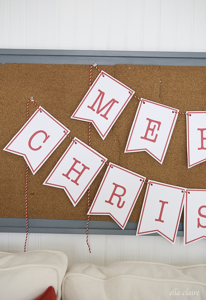 photograph about Merry Christmas Sign Printable identified as Merry Xmas Banner Free of charge Printable - Ella Claire
