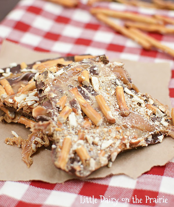 Peanut Butter and Caramel Pretzel Bark