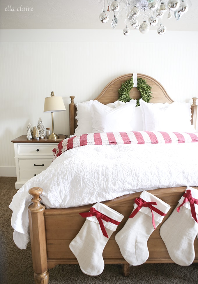 ... Cozy vintage red and White Christmas Decor | Ella Claire