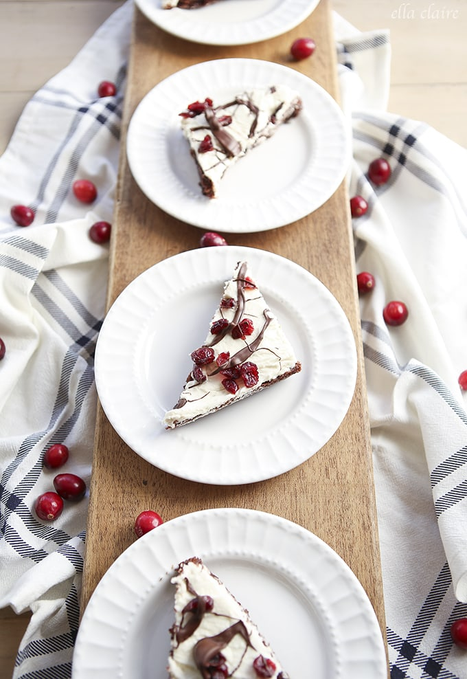 Cranberry Blissful Brownies~ delicious brownie base with cream cheese layer and cranberry topping