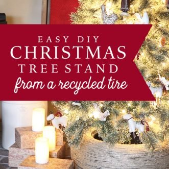 An easy DIY Christmas Tree stand- made out of a free recycled tire!