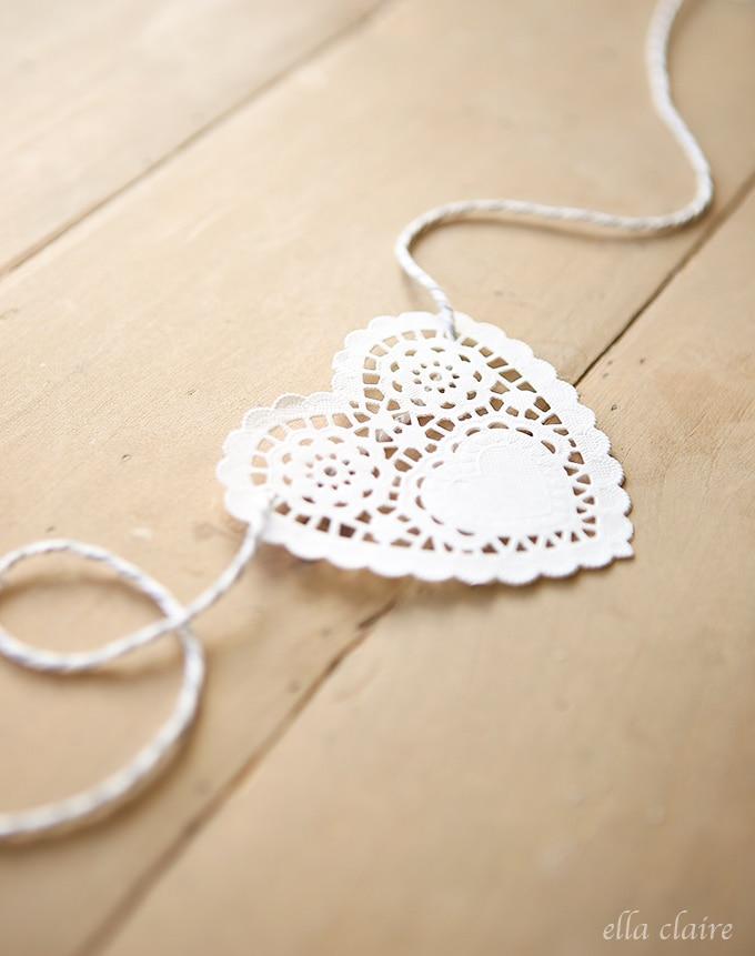 Valentine's Day Doily Heart Banner
