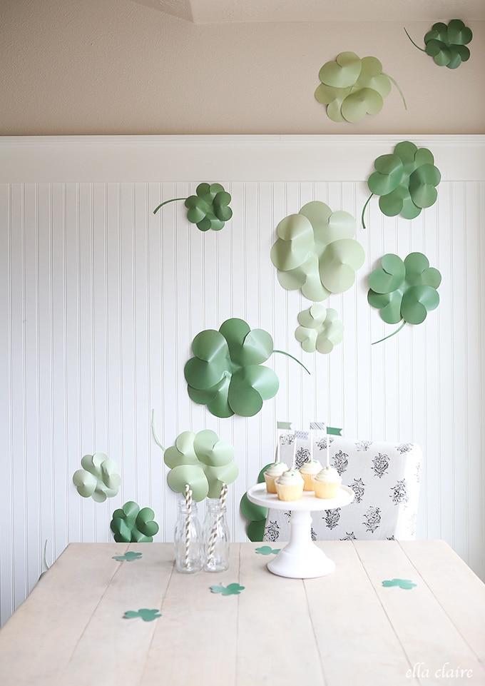 DIY Giant Paper Shamrocks  Free Printable  Ella Claire