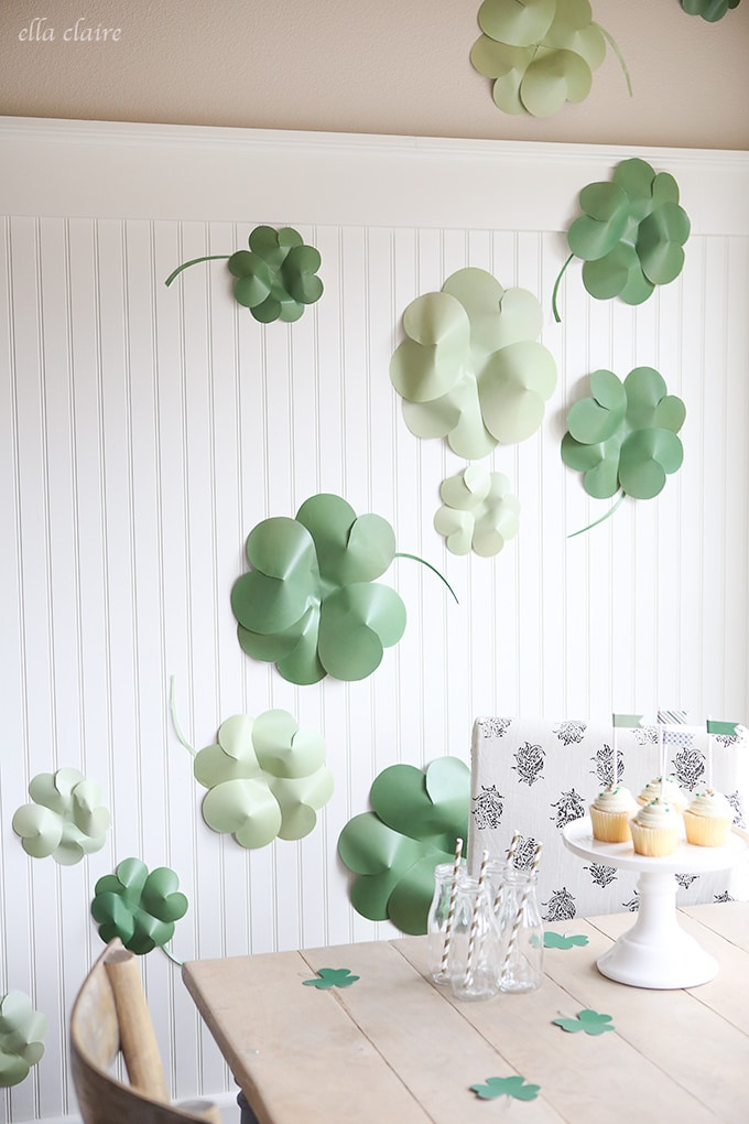 DIY Giant Paper Shamrocks