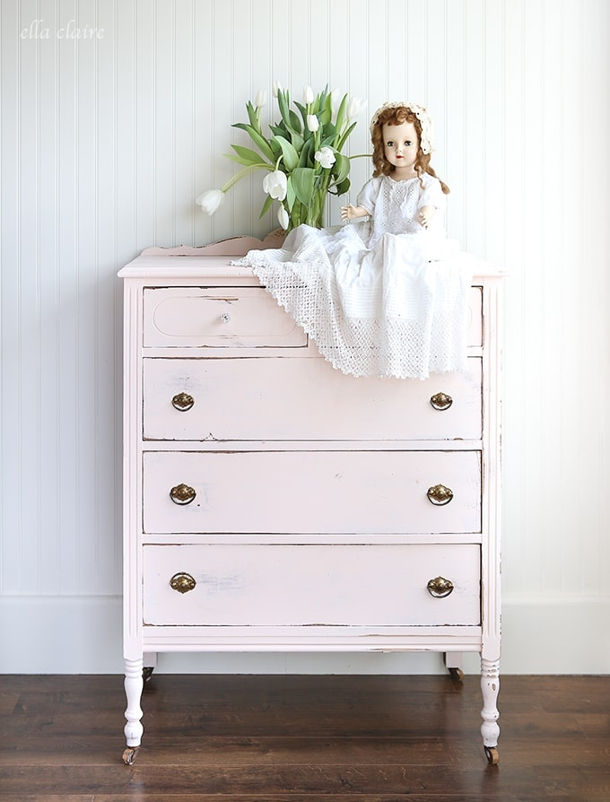 A little bit of sweet pink paint turns an old dresser into the perfect piece for a little girl's room.