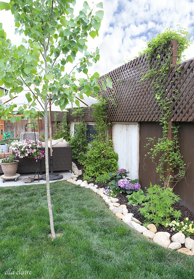 Spruce up and define your planters with this DIY River Rock Border
