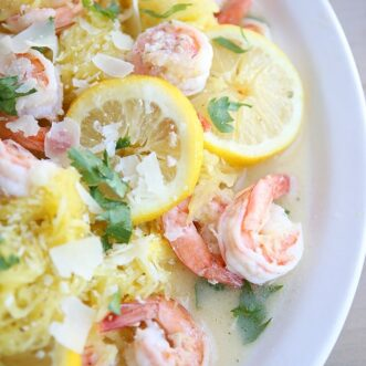 Lemon Garlic Shrimp Spaghetti Squash