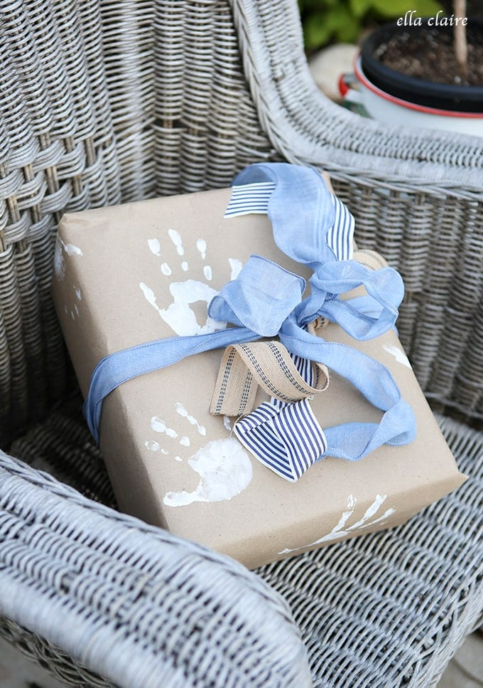 Diy Handprint Wrapping Paper Father S Day Gift Ella Claire